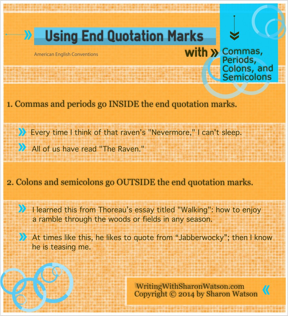Whether in dialog or in essays and reports, commas, periods, colons, and semicolons follow clear rules used with quotation marks.