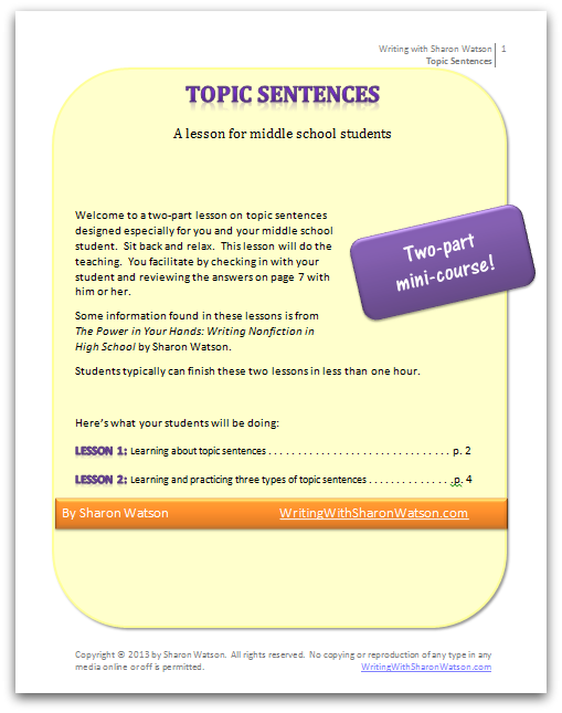 Free Download Topic Sentences Lesson Cover | Writing with