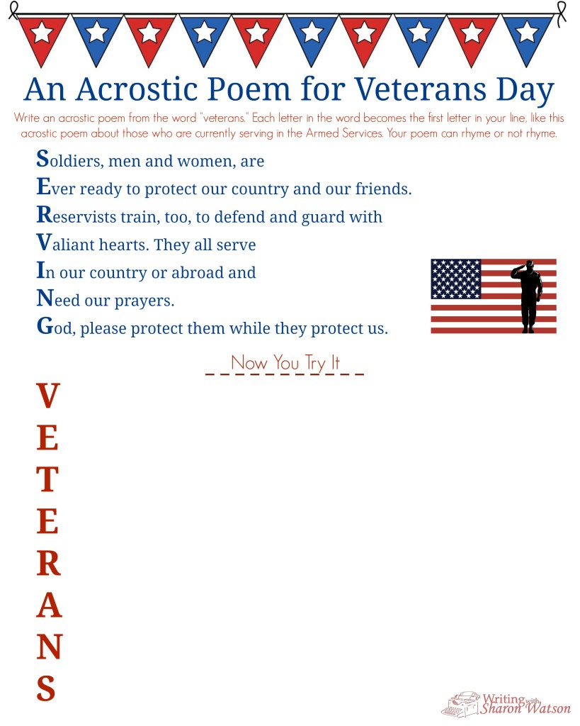 Veterans Day Acrostic PoemMiddle School Writing Prompt – Veterans Day Math Worksheets